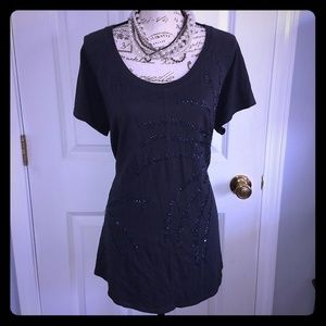 Women's gray w/beaded design short sleeve shirt